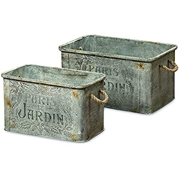 The French Country Style Jardins, Rustic Cache Pots, Rectangle Planters, Galvanized Metal, Lush Gray Patina, Rope Handles Topiary, Plants, Herbs, Set of 2, 22 and 18 L Inches, By Whole House Worlds