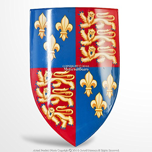 Medieval Coat Of Arms - Fleurs De Lis Henry Coat of Arms of England 18G Steel Medieval Heater Shield