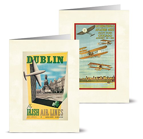 Vintage Aviation - 36 Note Cards - 12 Designs - Blank Cards - Off-White Ivory Envelopes Included