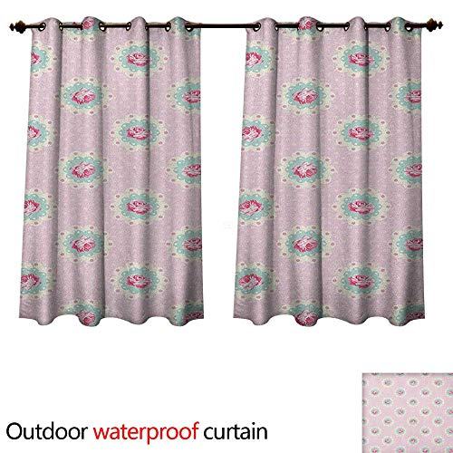 Anshesix Shabby Chic Outdoor Curtain for Patio Retro Style Polka Dotted Backdrop and Floral Motifs Roses Cottage W72 x L72(183cm x 183cm) (Newport Cottage Rose)