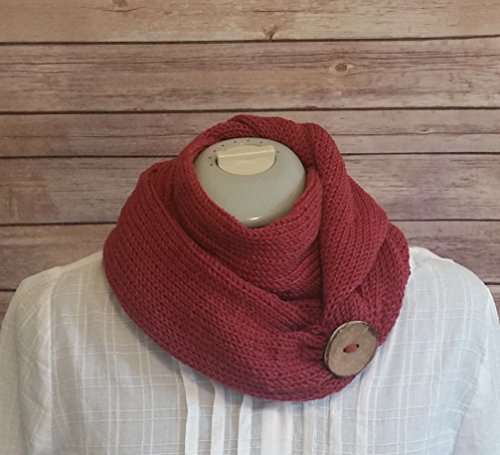 Red Handmade Knit Infinity Merino Wool Bamboo Cowl Scarf with Coconut Button