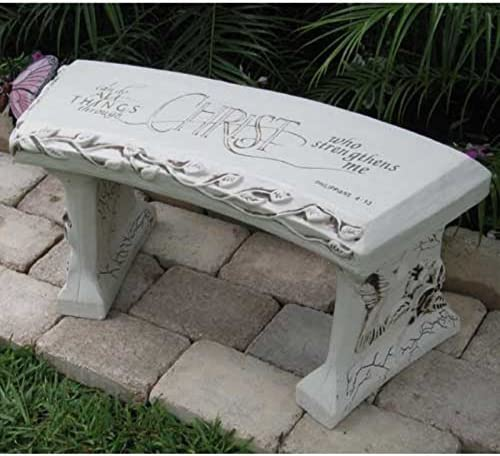 Southwest Graphix Hand Crafted Spiritual Bench Cast Stone Garden Bench Persaonalization Available