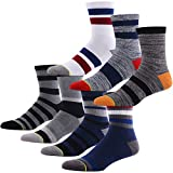 Hiking Crew Socks for Men, MEIKAN Fashion Stripe Cotton Athletic Quarter Socks 1, 3, 4, 7 Pack