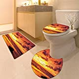 3 Piece Toilet mat set Collection Tropica Surfing Wave on a Windy Sea Indonesia Sumatra Picture Print Fabri Textures Non-Slip Bathroom Mats Contour Toilet Cover Rug
