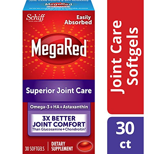 MegaRed Omega-3 + Hyaluronic Acid + Astaxanthin Superior Joint Care Supplement, 3X Better Joint Comfort than Glucosamine + Chondroitin, 30 Count