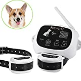 PetWorld 100% Wireless Dog Fence System Outdoor Invisible Pet Containment System Rechargeable Waterproof Collar 550YD Remote Control (2 Dogs System)