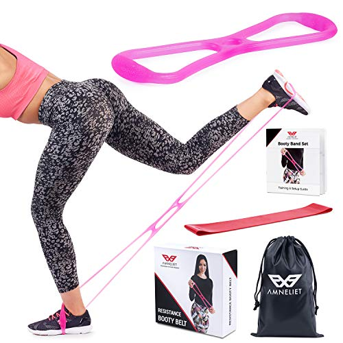 Booty Bands & Resistance Band Workout Equipment by Amneliet | Booty Belt with Fitness Bands, Workout Guide & Nutrition Ebook Included for Brazilian Butt Lift Workouts at Home, Perfect for Glutes & Abs by Amneliet