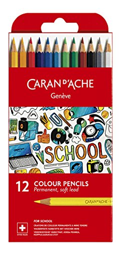 Colored Permanent Pencil (Caran d'Ache School Line Permanent Colored Pencils, 12 Colors)