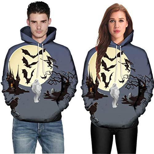 Hot Sale,WUAI Halloween Costumes for Adults Men Women Party Dress Up 3D Print Couples Slim Fit Hoodies Sweatshirt(Gray ,US Size XL = Tag -