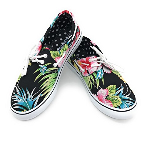 Blue Berry EASY21 Women Canvas Round Toe Lace up Flat Sneaker Oxford Boat Shoe,Black Hawi Flower,Size 7.5