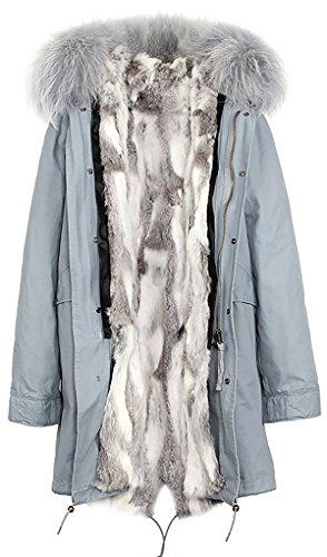 de S Blanco Gris de mujer pelaje abrigo extraíble con ROMZA Gris capucha piel invierno conejo de Forro de extraíble mapache Cuello amp; FxFrqa1nBw