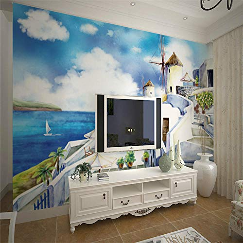 Hand-Painted Oil Painting Windmill 3D Mural Mediterranean Large Wallpaper-300210Cm