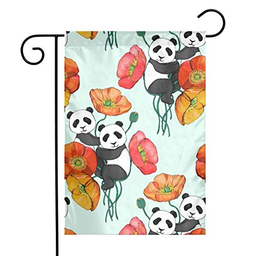 Garden Flag Double Sided 12 X 18 Inches Poppies and Pandas On Mint - Small_388 Holiday Seasonal Flag Wedding Party Yard Home Outdoor ()