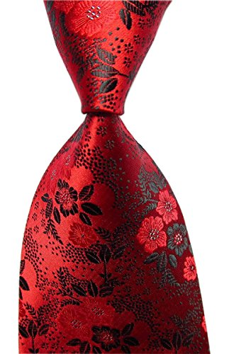 Secdtie Mens Red Black Suit Tie Floral Woven Silk Paisley Party Necktie Gift B15 (Silk Satin Tie Dress)