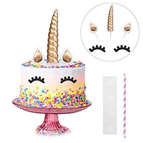 Halofuno Unicorn Birthday Cake Topper Set, Handmade Eyelashes, 6 Inch Unicorn Horn and Ears, Large Size Cute Cake Decoration Kit for Girls Birthday Party, Baby Shower?Gold?