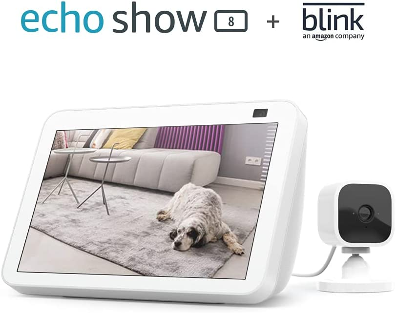 All-new Echo Show 8 (2nd Gen, 2021 release) - Glacier White bundle with Blink Mini
