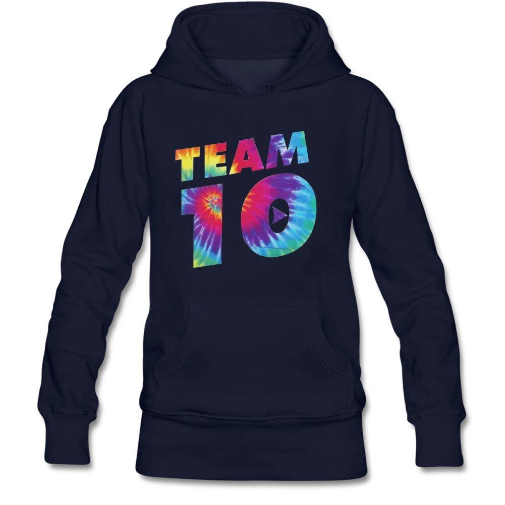Aliensee Women's Colorful Team 10 Pullover Hooded Sweatshirt S Navy