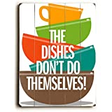 """Wash The Dishes by Artist Michael Dexter 9""""x12"""" Solid Wood Sign Wall Decor Art"""