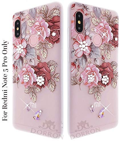 low priced 91fa2 26ff6 DORRON Mi Xiaomi Redmi Note 5 Pro 3D Floral Print Back Mobile Case Cover  (Red Rose Color)