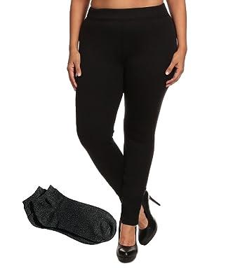 beea98f1b55 Shosho Womens Sexy Thick Fur Lined Basic Plus Size Leggings (1X ...
