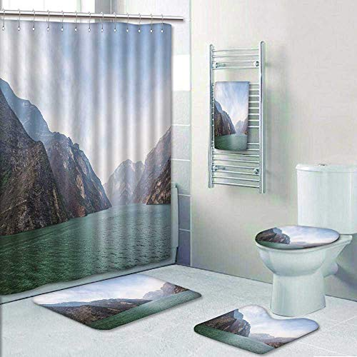 Philip-home 5 Piece Banded Shower Curtain Set The wu Gorge of Three Gorges at The yangtze River Near badong hubei China Pattern Adornment ()