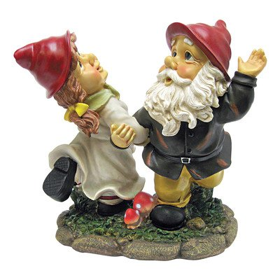 Design Toscano Garden Gnome Statue – Dancing Duo Garden Gnomes – Lawn Gnome