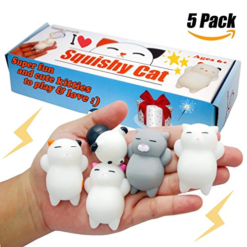 slow rising squishy toys, super cute mini kawaii cats & panda your kids will love. Perfect charms gift for children and adult, great fidget stress relief, elastic mochi, good squeeze emotions reliever