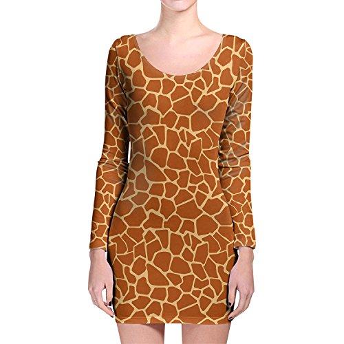Giraffe Print Longsleeve Bodycon Dress Kleid XS-3XL