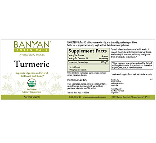 51Xs0F oJ%2BL - Banyan Botanicals Turmeric Tablet Supplement, USDA Organic, 90 count - Supports Digestion, Overall Health and Well-being