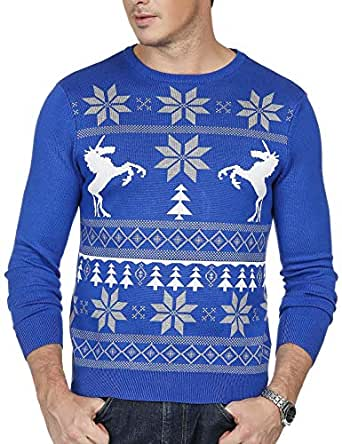 PJ PAUL JONES Mens Christmas Sweater Long Sleeve Crew Neck Santa Xmas Pullover (XL, Blue)
