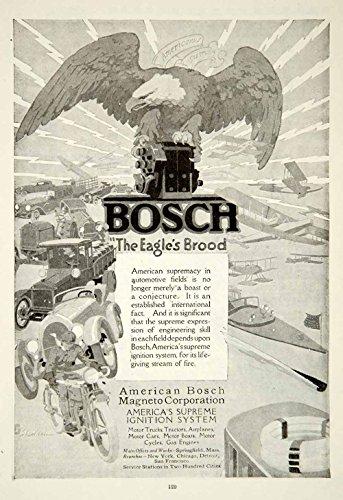 1919 Ad John E Sheridan Art Bosch Magneto Ignition System Car Auto Parts YRR1 - Original Print (Bosch Magneto)