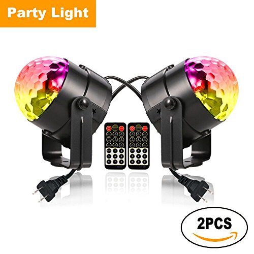 Led Dj Club (YiYiBa Party Lights,Disco Ball DJ Lights RGB Stage Lighting Strobe LED 11 Color Changing Sound Activated Magic Ball Effect Strobe Lights with Remote Control For Dj Club Bedroom Kids Birthday(2 PACK))