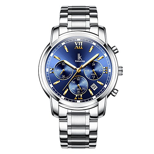 Wrist Watch for Men Stone Stainless Steel Quartz Watch with Blue Dial Waterproof ()