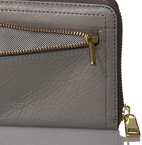 Fossil Women's Logan Leather RFID-Blocking Zip Around Clutch Wallet with Wristlet Strap 3