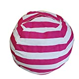 Kids' Bean Bag Chair Stuffed Animal Storage, Ehonestbuy Stripe Cotton Canvas Toy Organizer for Kids Bedroom, Storage Solution for Plush Toys,Towels & Clothes(Big - 26 Inch Diameter, Rose red)