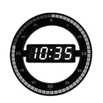 LETU 12 Pulgadas Reloj De Pared Simple Anillo LED Redondo Mudo Fotosensible Puro Digital Electrónico Reloj De Pared 33 * 34 * 4 Cm,Black: Amazon.es: Hogar