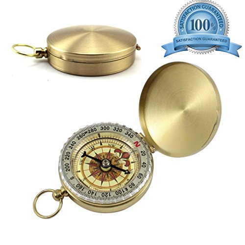 Camping Survival Compass Classic Mini Pocket Watch Style Portable Waterproof, Anti-Shock Flip-Open Military Navigation Tool for Hiking Climbing Exploring Geology Hunting Sailing Outdoor. (Keychain Pocket Watch)