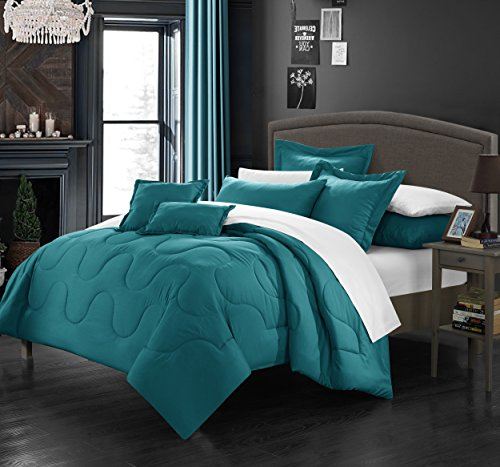 (Perfect Home 7 Piece Demaria Bedding Basics, Down Alternative Solid color complete bedding ensemble, Full/Queen, Teal)