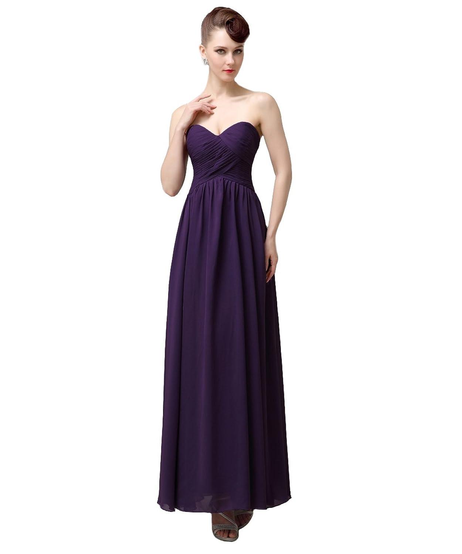 YesDress Simple Sweet Heart Lace Up Chiffon Dark Purple Long Bridesmaid Dresses