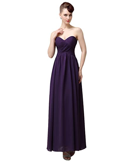 53c95147852 YesDress Simple Sweet Heart Lace Up Chiffon Dark Purple Long Bridesmaid  Dresses  Amazon.co.uk  Clothing