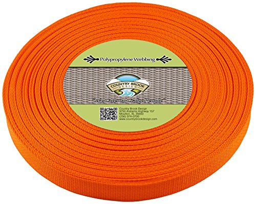 Country Brook Design | Polypropylene Webbing (1 Inch) (Orange, 25 Yards)