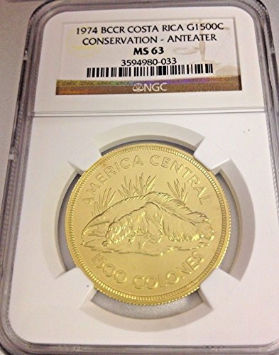 1974 CR BCCR Costa Rica 1974 Gold Coin 1500 Colones Giant coin MS 63 NGC