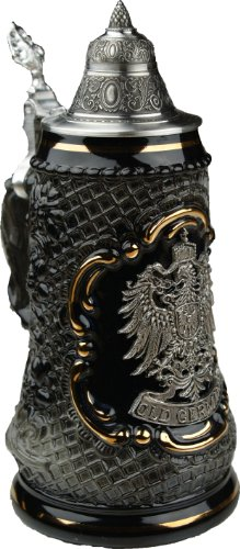 Old German Petwer Coat of Arms Black Lozenge German Beer Stein 0.5l (1/2 Liter German Beer)