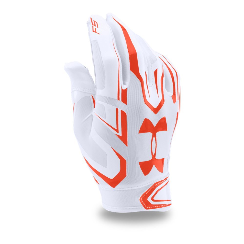 Under Armour Mens F5 Football Gloves, White/Dark Orange, Small by Under Armour (Image #1)