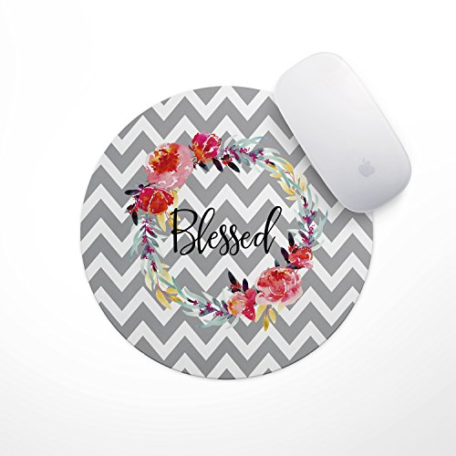 Blessed Floral Wreath Mouse Pad - Neoprene Inspirational Quote Mousepad, Office Space Decor, Home Office, Computer Accessories