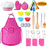 Hicdaw 31PCS Kids Cooking and Baking Set Kitchen Toys for Kids Girls Cooking Aprons Chef Hat Oven Mitt Cooking Utensils Silicone Baking Cups for 3 4 5 6 7 Year Old