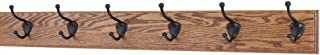 """product image for PegandRail Oak Coat Rack with Oil Rubbed Bronze Hat & Coat Style Hooks (Chestnut, 30.5"""" x 3.5"""" with 6 Hooks)"""