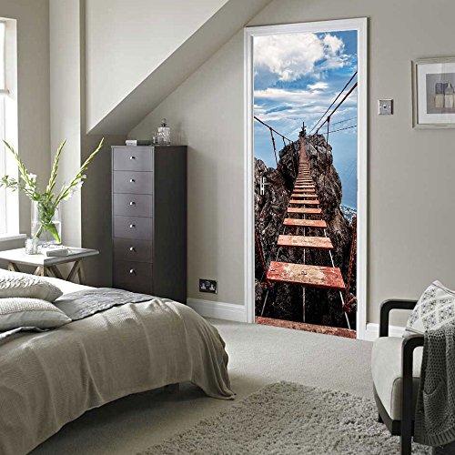 AKLIG Door Sticker Mural Sling Bridge for Bedroom Bathroom Ep Self-Adhesive PVC Wall Sticker, 77X200Cm