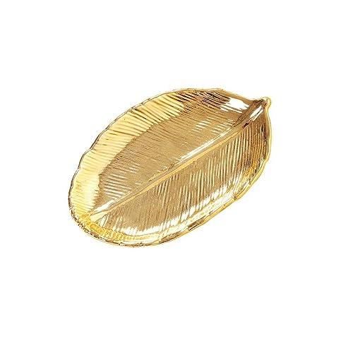 5540abaebf69 Hoja de Oro Bandeja de Joyería De Cerámica Placa Placa Decorativa ...