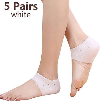 5 pares de calcetines del talón Tacones de gel de silicona calcetines Tazas Manga del talón